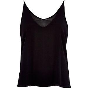 Black V-neck double layer cami