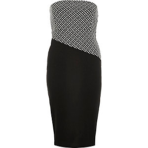 Black jersey bodycon bandeau dress