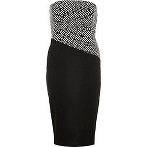 Black jersey bodycon bandeau dress