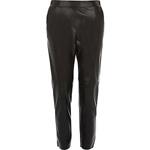 Black leather-look slim joggers