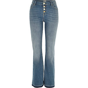 Mid wash button up Brooke flare jeans