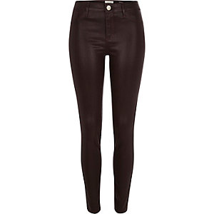 Dark red coated Molly jeggings