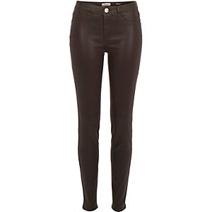 Brown coated Molly jeggings