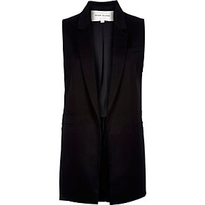 Black sleeveless tailored jacket