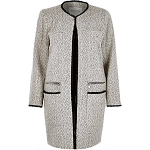 Cream tweed speckle collarless jacket