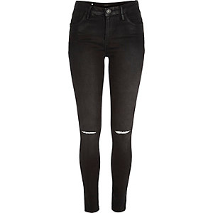 Black coated ripped Amelie superskinny jeans