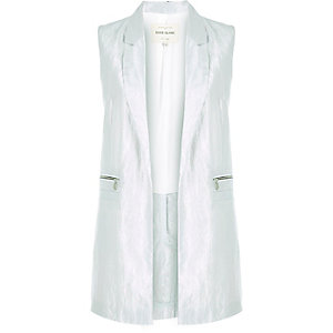 Silver metallic taffeta sleeveless jacket