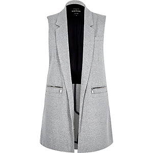 Light grey woven sleeveless jacket