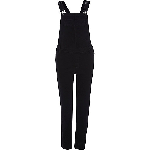 Black slim leg overalls