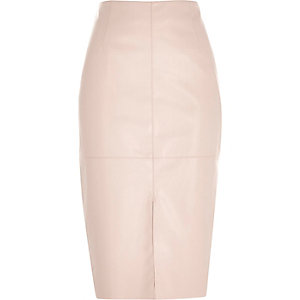 Pink leather-look split front pencil skirt