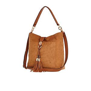 Tan faux suede tassel front handbag