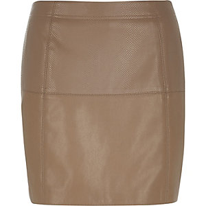 Brown snake print pelmet skirt