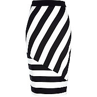 Black and white stripe pencil skirt