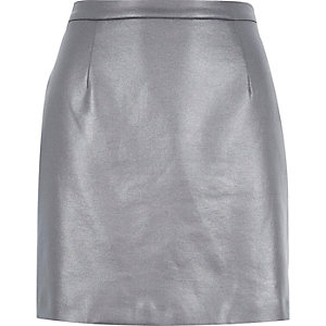 Dark grey coated A-line skirt