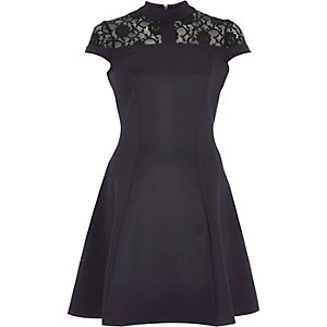 Navy lace trim skater dress