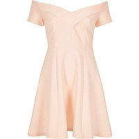 Light pink scuba bardot skater dress