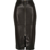 Black leather-look zip-up pencil skirt