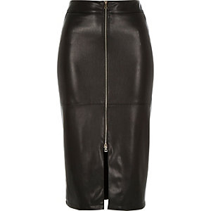 Black leather-look zip-up pencil skirt