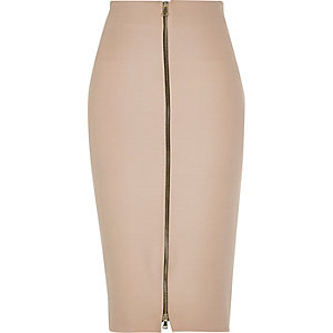 Nude pink zip front pencil skirt