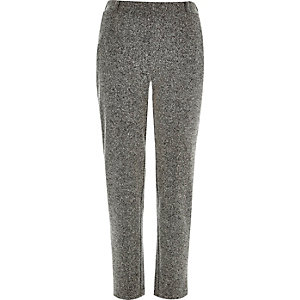 Grey herringbone jersey cigarette trousers