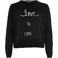 Black love intarsia jumper
