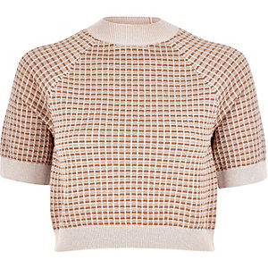 Beige metallic geo print knitted crop top