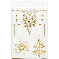 Gold flower bracelet temporary tattoos