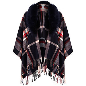 Navy tartan faux fur trim tassel cape