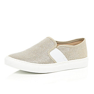 Gold metallic slip on plimsolls