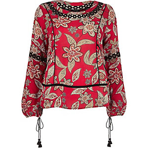 Red print lace insert boho top