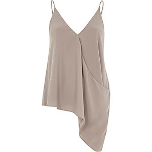 Mink grey wrap asymmetric cami
