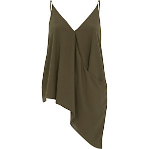 Khaki green wrap asymmetric cami