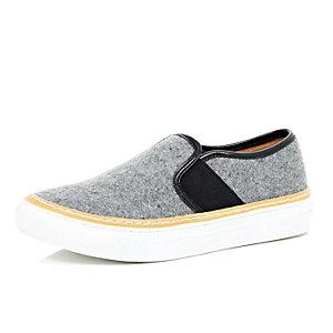 Grey felt slip on plimsolls