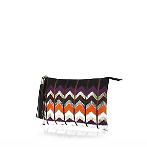 Purple zig zag embroidered clutch bag