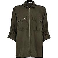 Khaki military zip up shirt