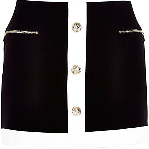 Black block pelmet mini skirt