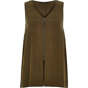 Khaki green zip front vest