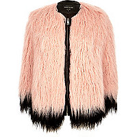 Light pink premium faux-fur coat