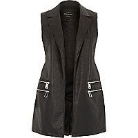 Black leather-look zip gilet