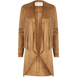Brown faux-suede tassel jacket