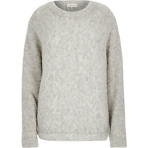Grey brushed wool-blend knitted jumper