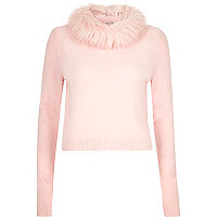 Pink knitted faux fur collar jumper