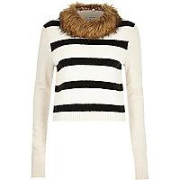 Cream stripe knitted faux fur collar jumper