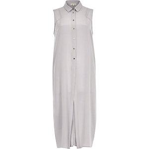 Grey silk longline open back maxi shirt