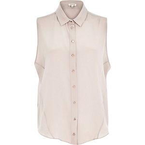 Light grey silk sleeveless shirt