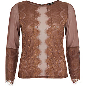 Rust brown lace top