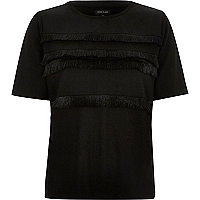 Black fringe trim t-shirt
