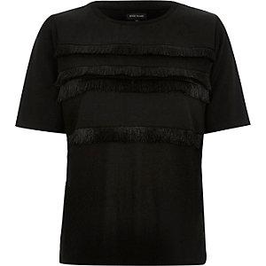 Black fringe trim t-shirt