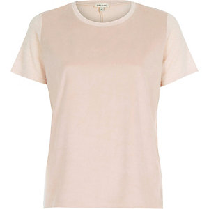 Pink faux-suede panel t-shirt
