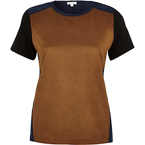 Brown faux-suede panel t-shirt